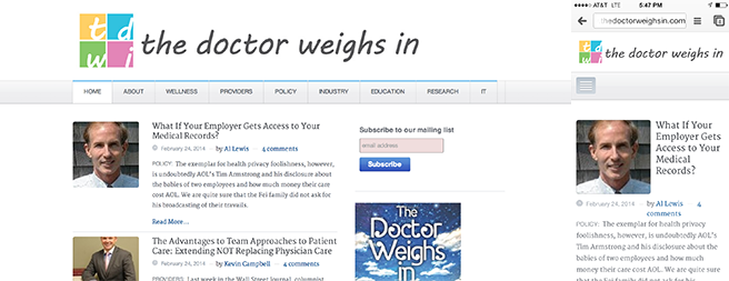 The Doctor Weighs In - Example of a responsive website.